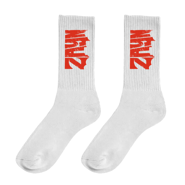 ZAYN Logo White Socks with Red Font