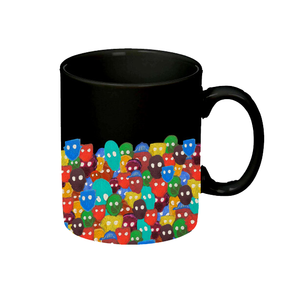 NIL Black Mug with Color Faces